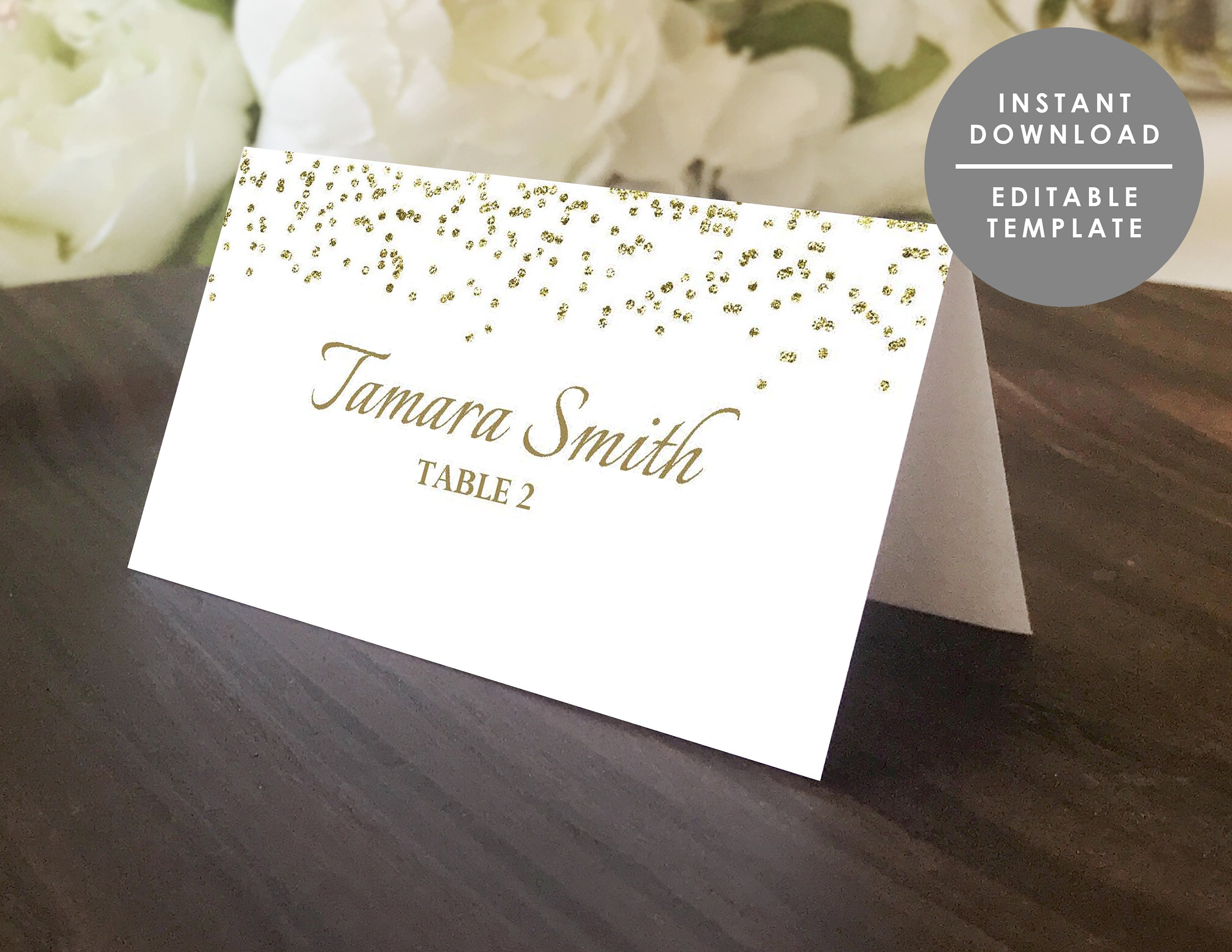 picture relating to Gold Printable Place Cards identified as Gold glitter Space card, printable destination card, gold confetti,Fake gold,Do it yourself status card,Wedding ceremony popularity card,Quick obtain,Editable PDF,WSP145