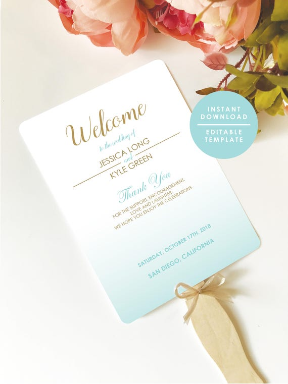Blue And Gold Wedding Program Beach Program Fan Program Etsy