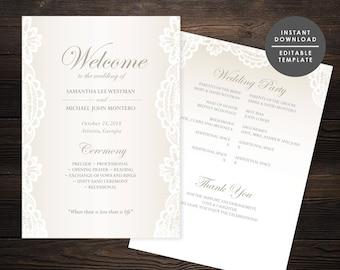 Lace Wedding Program, Elegant wedding program, Beige Program, Instant download, Editable template, Classic Wedding Program  #GD_WP126