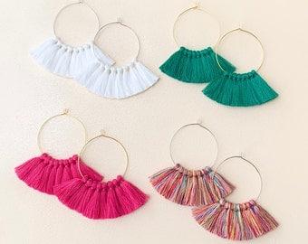 """59 Tassel Colors/ Small Tassels/ 1.6"""" Hoops/ Gold Hoop/ Rose Gold Hoop/ Silver Hoop/ Tassel Earring/ Hoop Earrings/ Bright Earrings"""