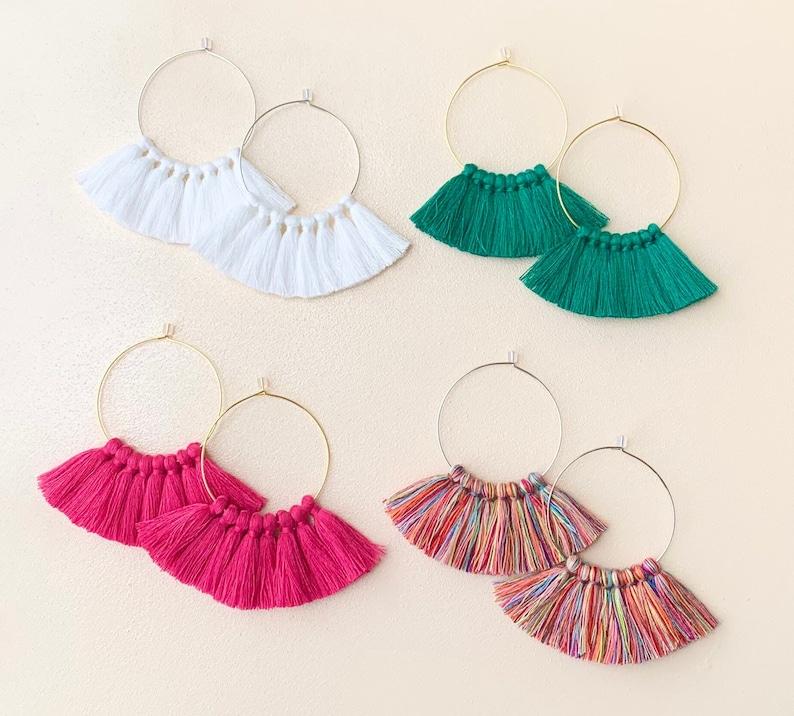 59 Tassel Colors/ Small Tassels/ 1.6 Hoops/ Gold Hoop/ Rose 39 Emerald Green