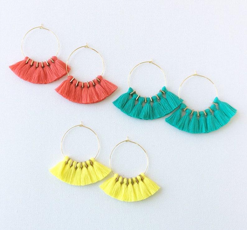 59 Colors/ Mini Tassel Earrings/ 1.75 Gold Hoops/ Tassel 45 Turquoise Green