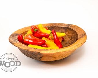 Oak Wooden Bowl Fruit Salad Bowl Handed Beaded exterior beautiful heart Wood – Kent Weakley – 032389D