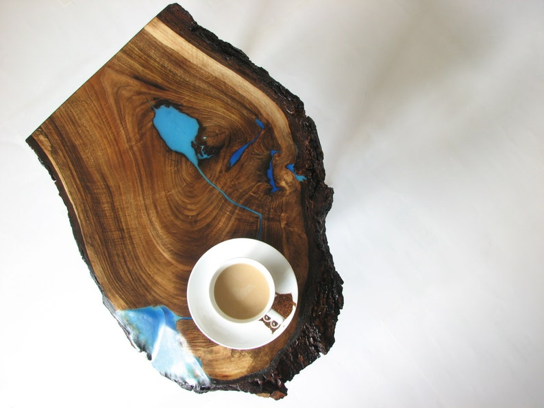 Live edge waterfall coffee table with glowing resin fillin image 0