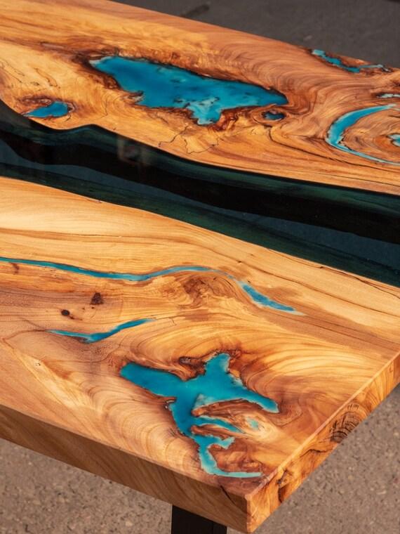 Live Edge 3D Effekt River Esstisch mit türkisfarbenem
