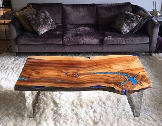 Live Edge Coffee Table With Glowing Resin Fillin Etsy