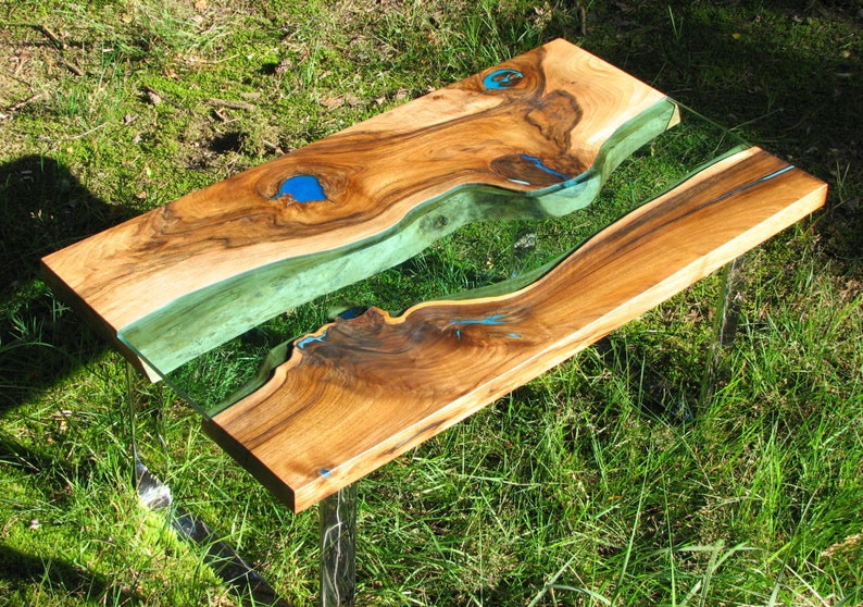 Live edge river coffee table with glowing resin fillin  image 0