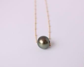 Floating pearl xZoe chain-Tahitian pearl