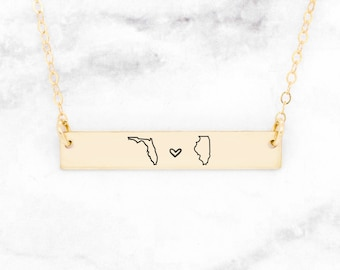 State Necklace Graduation Gift Retirement \u2022 Going Away Necklace Hometown Roots State \u2022 Texas Necklace Small State Handstamped Charm \u2022 QQQ