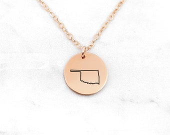 Copper Oklahoma State Pendant Necklace