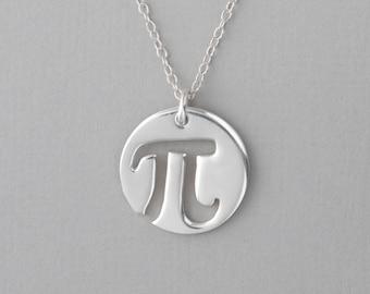 Circle Pi Necklace, Pi Charm, Math Jewelry, Pi Symbol Pendant, Geometry Necklace, Silver Pi Jewelry, Pi Pendant