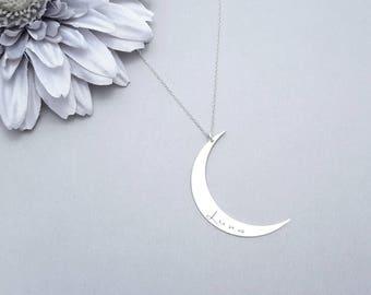 Large Silver Moon Necklace, Lunar Necklace, Crescent Moon Necklace, Moon Pendant, Boho Chic Necklace, Bohemian Necklace