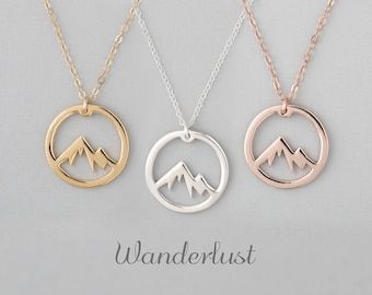 8a68d5cd5 Mountain Necklace, Wanderlust Necklace, The Mountains Are Calling, Mountain  Jewelry, Mountain Pendant, Mountain Charm,