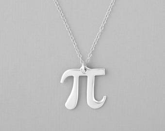 Pi Necklace, Pi Jewelry, Math Necklace, Pi Symbol Necklace, Geometry Necklace, Silver Pi Necklace, Pi Pendant