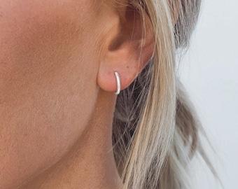 Minimalist thin hugging hoop New 8mm Full CZFront and Back Thin Hoop Earring Tiny Full around CZ Thin Hoop Earring
