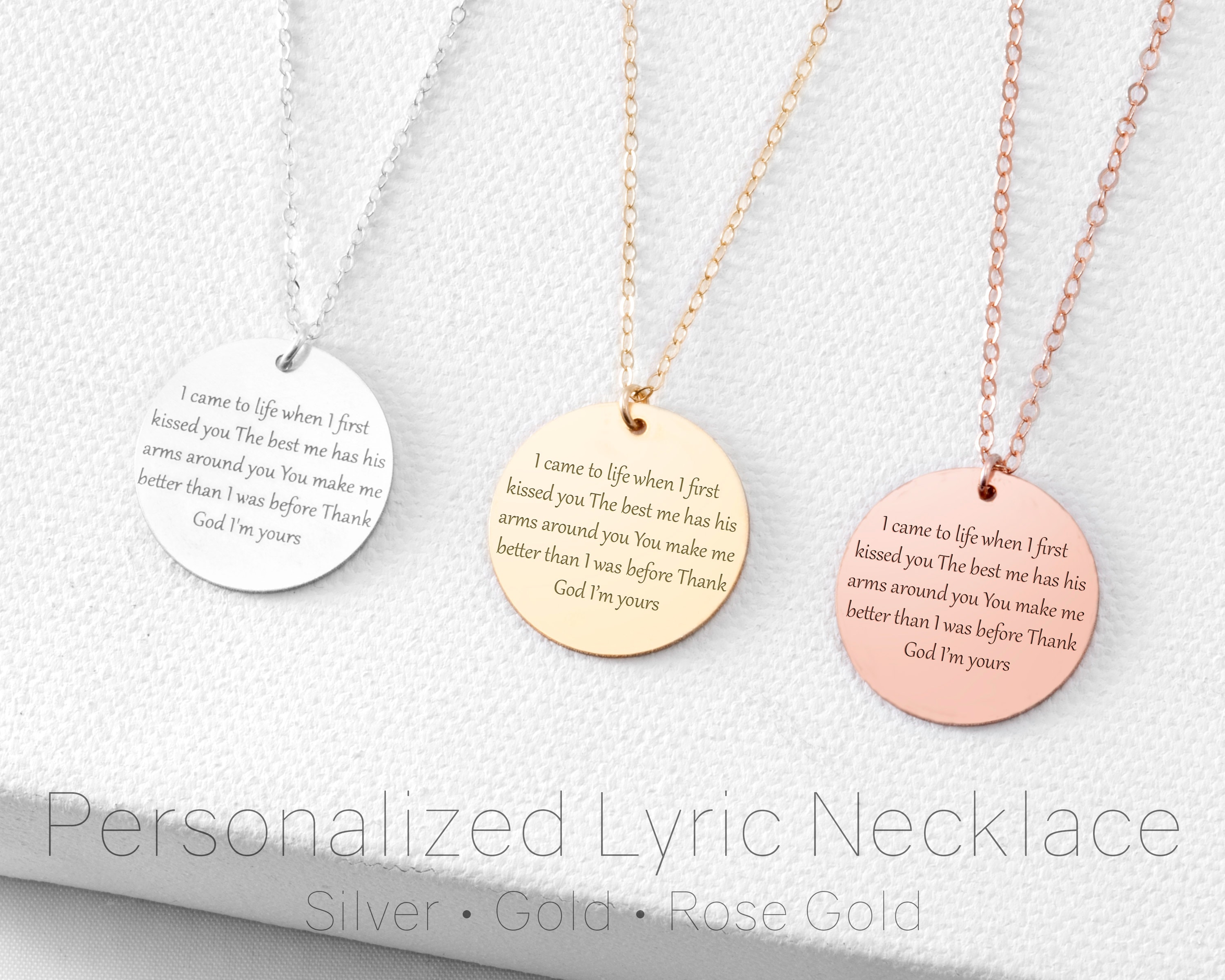 60d8a7a341613 Tenth Anniversary Gift • 10th Anniversary Gift • Personalized Song Lyric  Necklace Or Vows Necklace • Personalize Disc Necklace