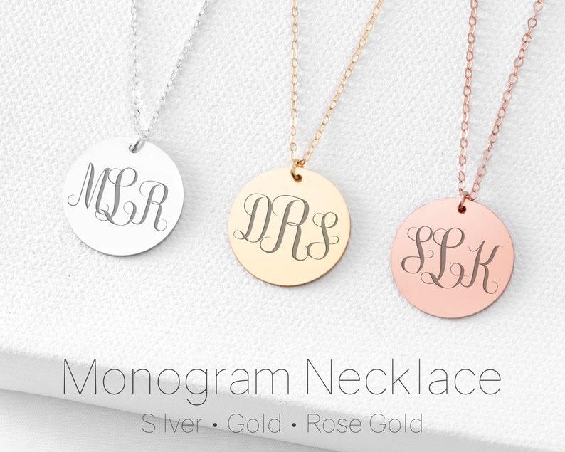 afe0cafbd Monogram Necklace Monogram Pendant Silver Gold Rose   Etsy
