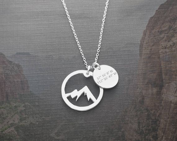 Angel's Landing Necklace Zion National Park Coordinate