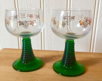 Quirky vintage french green stemmed wine glasses . Mid century
