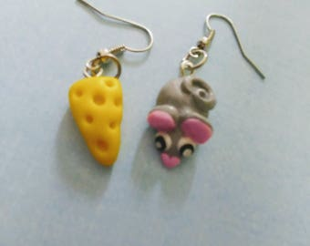 Mouse and cheese earrings