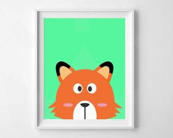 Fox Print | Nursery, Child's Room Decor | Digital Download