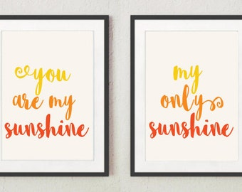 You Are My Sunshine in Ombre | 2 Set Prints | Nursery, Child's room decor | Digital Download