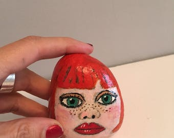 Hand painted pebble, rock art, painted rock, hand painted stone, garden ornament, paperweight, quirky gift