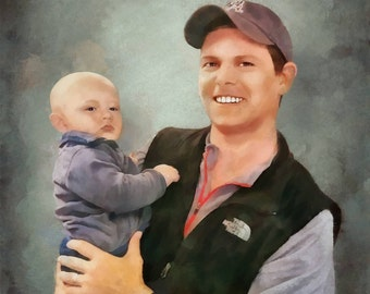 Painting From Photo, Dad, Son, Child Painting, Family portrait, Custom Portrait, Free Shipping!