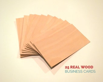 Wood business cards set of 100 blank wood cards wood etsy blank wood cards set of 25 wood business cards wood tags blank cards birch veneer handmade business cards reheart Images