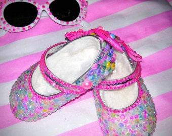 Baby Girl Bling Maryjane Crib Shoes Rhinestones Pearls Faux Fur