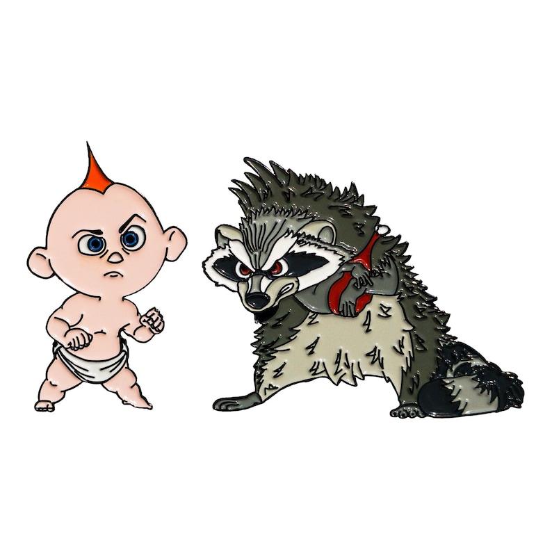 Enamel Pins Jack Jack vs Raccoon