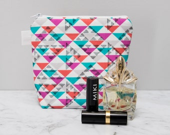 Geometric Makeup Bag - make up bag - cosmetic bag - zipper pouch - zippered pouch - toiletry bag - cosmetic pouch