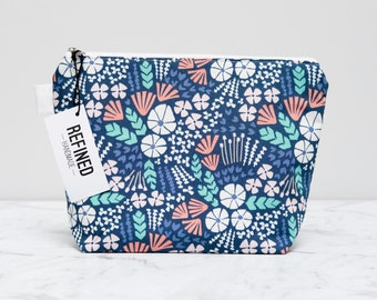 Blue ocean Makeup Bag - make up bag - cosmetic bag - zipper pouch - zippered pouch - toiletry bag - cosmetic pouch