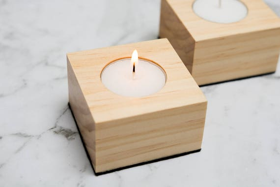 Pine Tea Light Holder Wood Candle Holder Square Candle Etsy