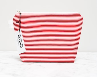 Red and White Striped Makeup Bag/red makeup bag - make up bag - cosmetic bag - zipper pouch - zippered pouch - toiletry bag - cosmetic pouch