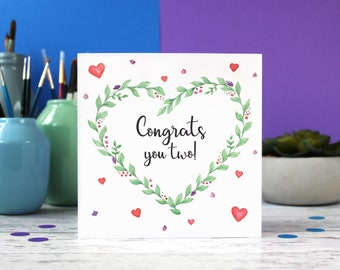 Congratulations card, wedding card, new baby card, congrats you two, engagement card, celebration card