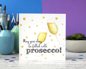 Prosecco card, 21st birthday, Prosecco birthday card, congratulations card, alcohol card, drink card