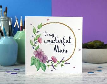 Mum birthday card, Birthday card, Mum card, Mother's day card, flowers card