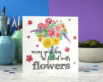 SALE ** Flower birthday card, mothers day card, thank you card, get well soon card, greeting card, blank card