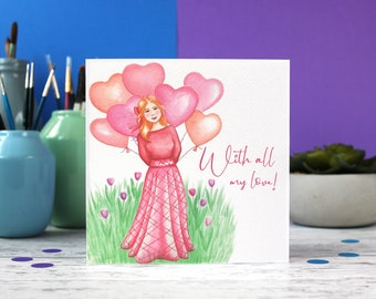 Thinking of you card, with all my love, Just for you card, Note card, Sympathy card, Best wishes card, Condolences card