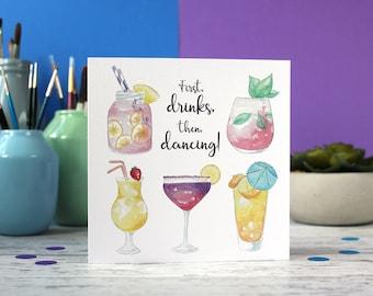 Cocktails birthday card, Celebration card, alcohol card, birthday card, best friend card, greeting card, blank card