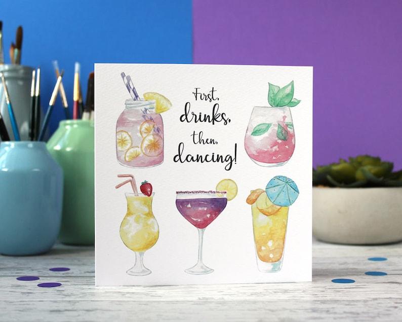 Cocktail Karte.Cocktail Geburtstagskarte Cocktail Karte Drink Karte Alkohol Karte Geburtstagskarte Besten Freundkarte Lustige Karte