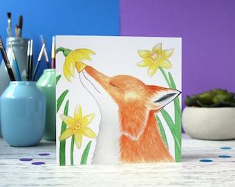 Fox card, cute animal card, spring card, blank card, just to say card