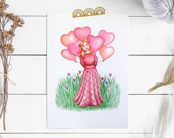 Valentines girl print, Heart balloons print, Love print, A4 valentines print