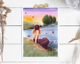 Autumn sunshine print, Autumnal art print, A4 fall leaves print