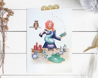 Potions witch print, magic art print, A4 witch print