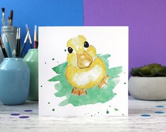 Duckling card, cute animal card, blank card, just to say card