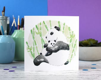 Panda card, new baby card, cute animal card, new mum card, new parents card