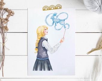 Patronus print, Luna Lovegood print, A4 witch print, harry potter print