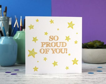 So proud of you, congratulations card, well done card, exams card